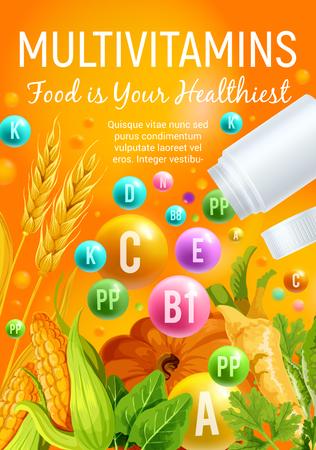 Multivitamine poster van vitaminerijk voedsel met groente, granen en kruiden. Multivitaminepil en bolletje met maïs, pompoen en tarwe, spinazie, peterselie en selderij. Ontwerp van de banner van gezonde voeding
