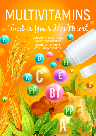 Multivitamin poster of vitamin rich food with vegetable, cereal and herb. Multivitamin pill and ball with corn, pumpkin and wheat, spinach, parsley and celery. Healthy nutrition banner design