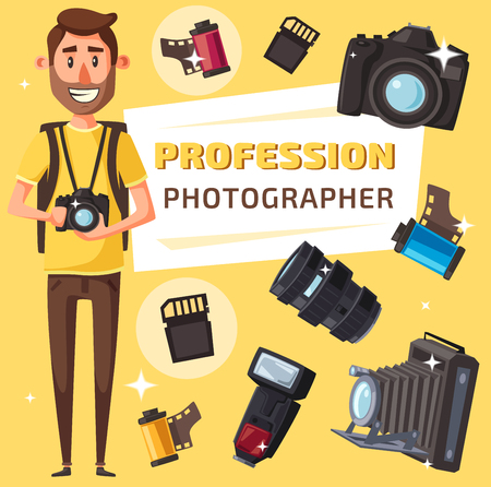 Photographer profession, photography professional equipment. Journalist or paparazzi with digital photo camera, lens and tripod, flash, photo film and memory card, vector cartoon style Çizim