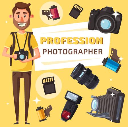 Profesión de fotógrafo, equipo profesional de fotografía. Periodista o paparazzi con cámara de fotos digital, lente y trípode, flash, película fotográfica y tarjeta de memoria, estilo de dibujos animados vectoriales