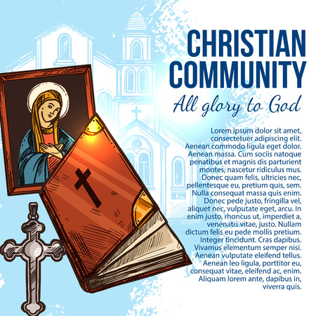 Christian community poster with Christianity religion Bible. Cross, Holy Bible and Mother of God icon with church building. Christian faith banner, catholic and orthodox church theme design