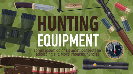 hunter ammunition and hunting sport equipment. Rifle, huntsman knife and binocular, shotgun cartridge, compass and crossbow, cartridge belt and flashlight poster on camouflage pattern. Vector Illustration