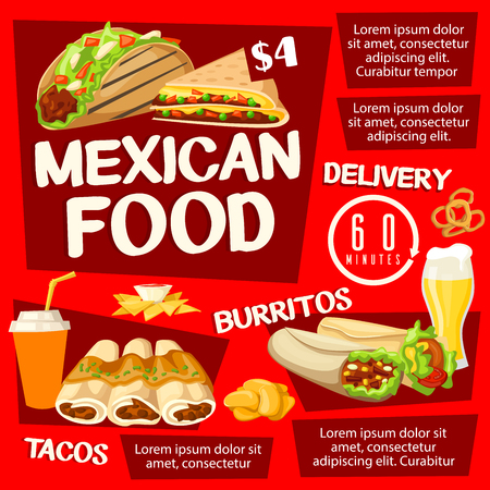 Mexican fast food restaurant poster, takeaway snack and drinks. Meat taco and tortilla burrito with vegetable salad, nacho with chili pepper sauce, soda and quesadilla dishes. Cafe menu design Çizim