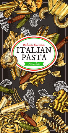 Italian pasta, spaghetti and macaroni banner with traditional food of Italy. Penne, farfalle and fusilli, cannelloni, rigatoni and noodle, ravioli, lasagna and tagliatelle sketch design