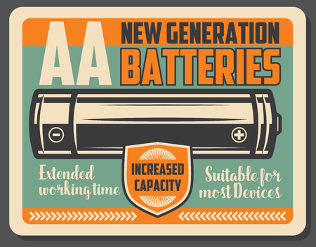 Electric battery retro signboard, power supply device. Alkaline energy battery with vintage shield. Power accumulator theme, vector design Banco de Imagens - 108100172