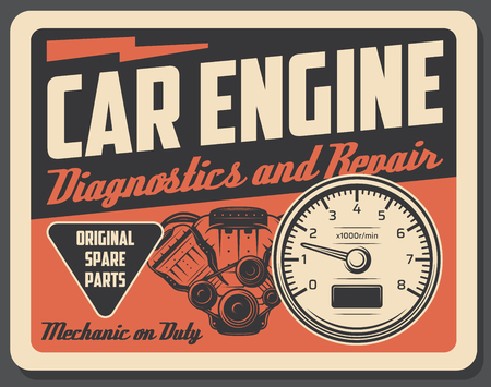 Car engine diagnostics and repair service, auto parts. Vehicle internal combustion engine and tachometer. Mechanic workshop or garage signboard