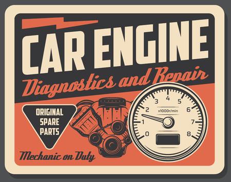 Diagnostyka i naprawa silników samochodowych, części samochodowe. Silnik spalinowy pojazdu i obrotomierz. Szyld warsztatu mechanika lub garażu