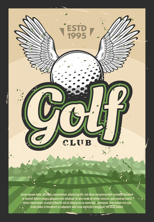 Golf sport club retro poster. Green golf play field with winged ball vintage. Game sports tournament vector illustration Иллюстрация