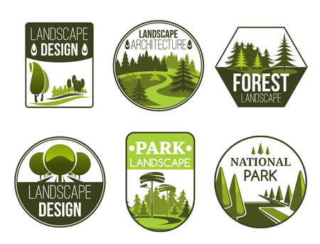 Conception de paysage et icônes vectorielles de service de jardinage, forêt, parc et jardin. Emblèmes de la nature verte du studio de conception de paysage avec arbres décoratifs, plantes et pelouse Vecteurs