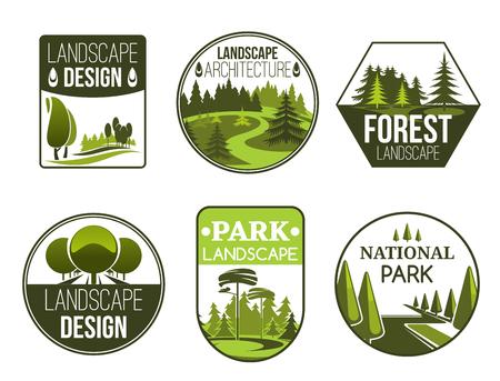 Diseño de paisaje y servicio de jardinería iconos vectoriales, bosque, parque y jardín. Emblemas de la naturaleza verde del estudio de diseño de paisaje con árboles decorativos, plantas y césped Ilustración de vector