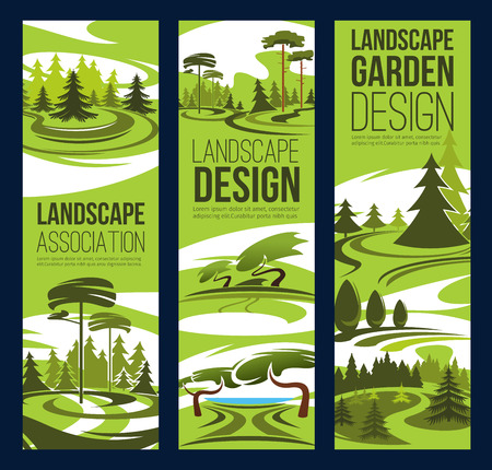Landscape design and gardening service banners, landscaping and horticulture company theme. Eco park and green tree, garden plant and grass lawn, landscape architecture theme design