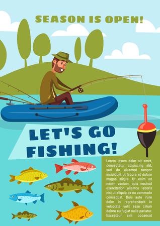 Pescador pescando desde embarcación con caña y anzuelo, carpa, bacalao y besugo, perca y lucio. Vamos a ir a pescar cartel para el diseño de temporada abierta de actividades al aire libre. Ilustración de vector