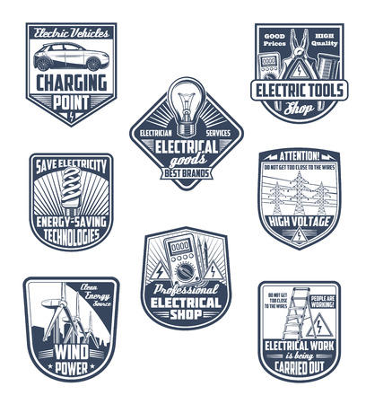 Electricity supply, electric service and energy saving vector icons. Electric tools, green power technology and electrician work shield for emblem design Stock Illustratie