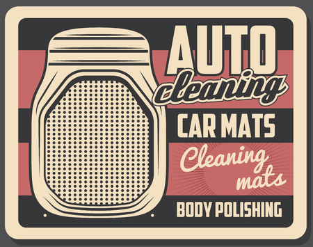 Automobile floor mats or rubber carpet. Car part and accessory shop. Vintage advertising, car service and mechanic garage vector elements Illustration