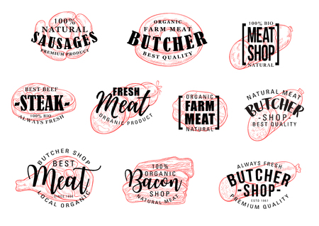 Vector butcher shop labels. Sausage and meat hand drawn lettering. Beef steak, pork sausage and ham, salami, bacon and smoked frankfurter, chicken bologna and wurst sketch  イラスト・ベクター素材