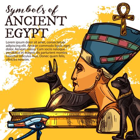 Símbolo de la cultura, la historia y la religión del antiguo Egipto. Dios egipcio de la muerte Anubis, ojo de Horus y la reina Nefertiti, símbolo de la vida ankh y bandera de vector de dibujo de deidad de gato negro. Tema de viaje Ilustración de vector