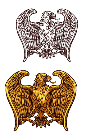 Golden eagle heraldic bird. Gold insignia of eagle, hawk or falcon with open wing and sharp feather isolated icon. Tattoo, medieval coat of arms or heraldry themes design Archivio Fotografico - 108100180