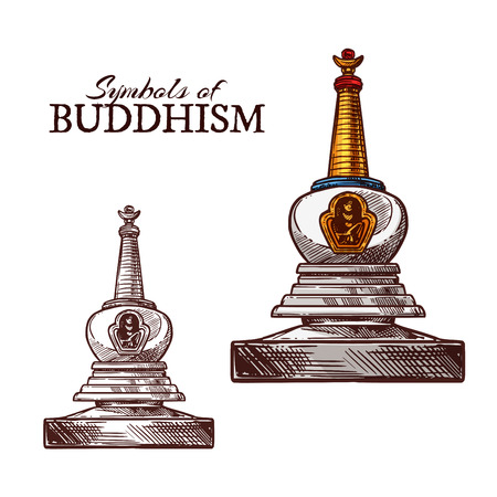 Buddhism religion symbol sketch of buddhist monk stupa. Ancient temple building with relics for monks meditation isolated icon. Asian religion and culture themes design Illustration