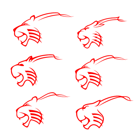 Tiger animal icons, red wild cat silhouette mascot design. Danger wildlife predator head symbol of power and strength, aggressive jungle mammal silhouette. Sport team or hunting club vector symbols