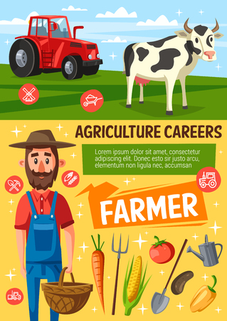 Farmer on farm, cow and tractor on arable. Rancher, farm worker or gardener in hat and overalls with farming tool and harvested vegetables. Vector illustration