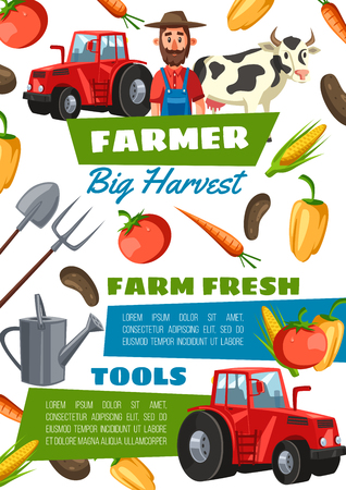 Cartoon happy farmer, veggies, tractor and farm cow. Natural potato, tomato, pepper, carrot, corn vegetables. Gardening tools watering can, forks and shovel. Agriculture and farming industry theme