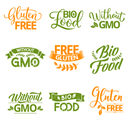 Bio, organic, gluten and GMO free natural food lettering calligraphy. Healthy product green and orange hand drawn labels with leaves and ribbon banners. Vector food package labels Illustration