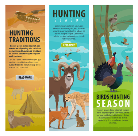 Hunting sport, wild animal, bird and equipment. Duck, african safari jaguar and forest wolf, lynx, fox and hare, grouse, pheasant and quail, huntsman rifle, gun and cartridge belt. Vector illustration Ilustrace