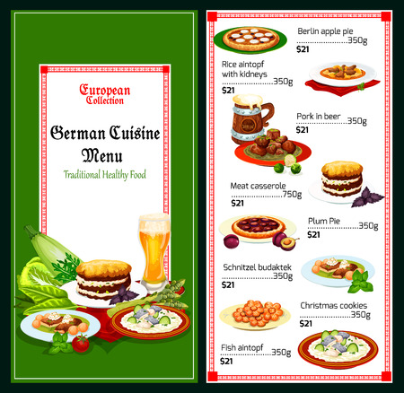 German restaurant menu with meat and fish dish of bavarian cuisine. Pork stewed in beer, beef casserole and schnitzel, rice with kidney, fish stew, fruit pies and sugar cookie. Vector illustration Illustration