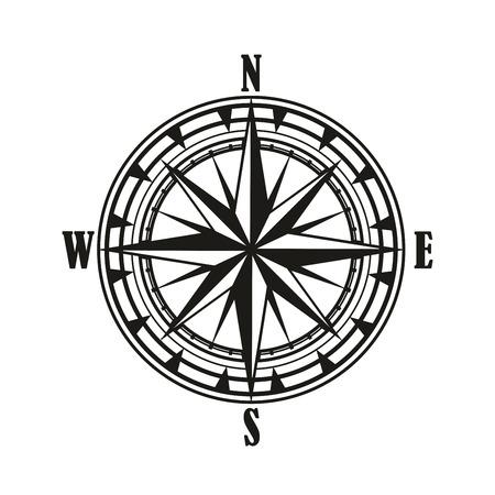 Icône isolée de rose des vents vintage, conception de voyage et de navigation nautique. Diagramme rétro noir et blanc de la rose des vents avec étoile des points de vent nord, sud, est et ouest ou direction cardinale Vecteurs