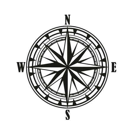 Vintage compass rose isolated icon, travel and nautical navigation design. Black and white retro diagram of compass rose with star of North, South, East and West wind points or cardinal direction