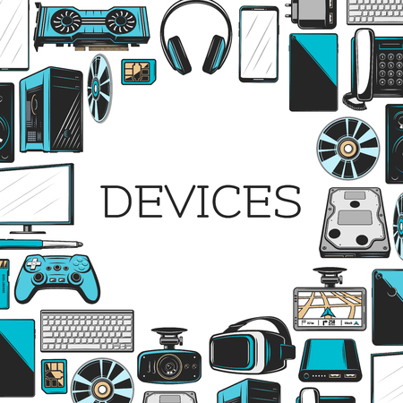 Electronics devices with computer and mobile digital gadgets frame. Monitor, laptop and keyboard, web camera, telephone and video game joystick, headphones, loudspeaker and hard disk