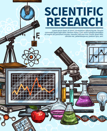 Scientific research poster with chemistry, biology and physics laboratory equipment. Test tube, flask and microscope, book, computer and light bulb, DNA and atom. Sketch style Vektorové ilustrace