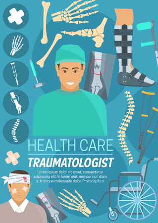 Traumatologist doctor, traumatology medicine. Trauma surgeon and injured patient with joints, bone x-ray, crutches and wheelchair, leg, hand and spine. Medical clinic vector poster