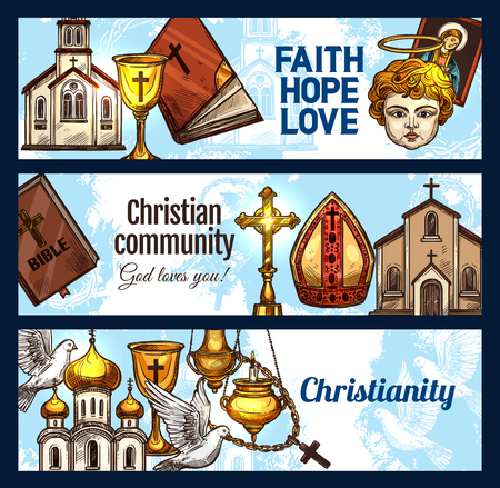 Christianity religion banners, christian church objects. Cross, God and Jesus Christ, holy Bible, catholic rosary and church building, crucifix, dove and angel, mirte and candelabra