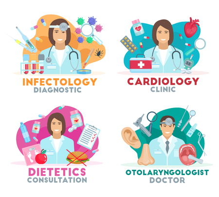 Cardiology, infectology, otolaryngology and dietetics diagnostic clinic symbols. Doctor with medical tools, laboratory test and medications icons. Hospital or health care vector illustration
