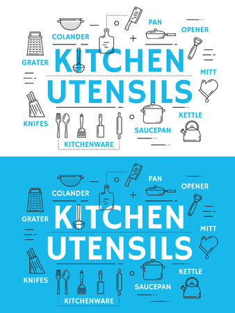 Kitchen utensil with cooking accessories, equipment and kitchenware thin line icon. Spoon, knife and fork, cup, pot and pan, whisk, grater and spatula, colander, cutting board and ladle poster design Illusztráció