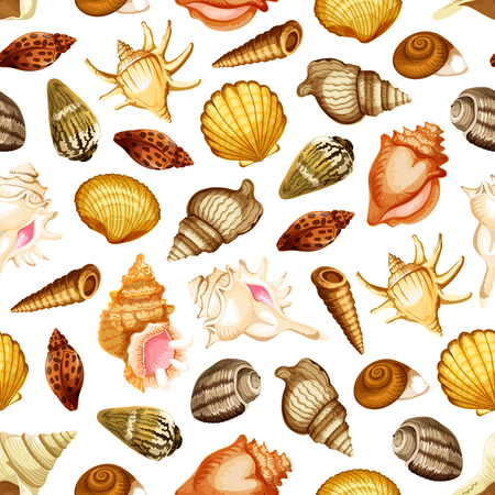 Sea shell and mollusk seamless pattern background. Ocean beach snail, scallop and chiton, clam, turret and cockle shell, king crown and fighting conch for summer vacation theme design