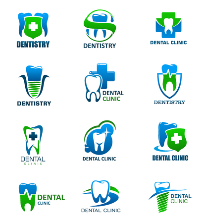 Dente sanità e odontoiatria medicina icone isolate. Simboli di studio dentistico e dentista con denti e impianto, decorati da scudo con croce e banner a nastro