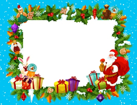 Christmas frame with blank space for New Year holiday greeting card. Blank paper edged with Xmas tree, gift box and holly branch, animal toys and ball, Santa Claus and cane candy border vector Illustration