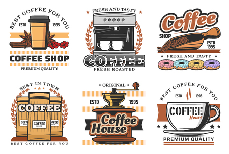 Coffee shop retro icons with hot drink and beverage. Cup of espresso, cappuccino and latte, coffee machine, grinder and paper package isolated icon with coffee bean and donut Illusztráció
