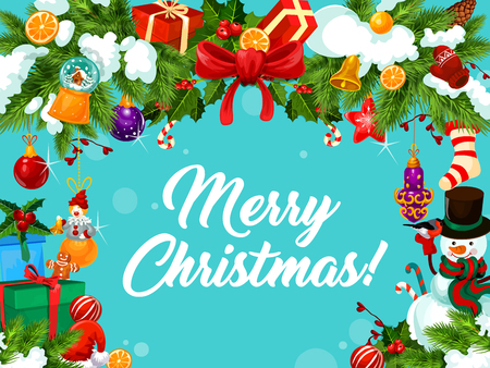 Merry Christmas wish greeting card on blue snow background in gifts and New Year decorations frame. Vector Christmas tree ornaments of clown and golden bell, cookie and snowman for Xmas celebration