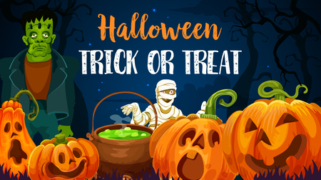 Halloween holiday trick or treat monsters invitation banner. Orange horror pumpkin lantern, creepy zombie and mummy for october holiday night celebration greeting card design