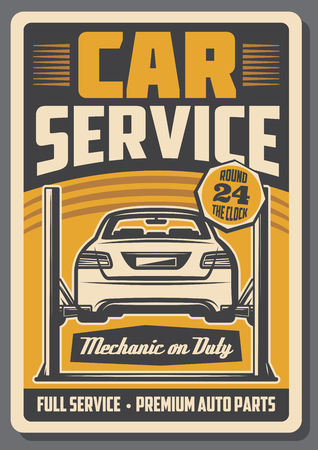 Car on diagnostic two post automotive lift. Car repair full service retro poster of auto garage and mechanic workshop. Old signboard, repair shop design
