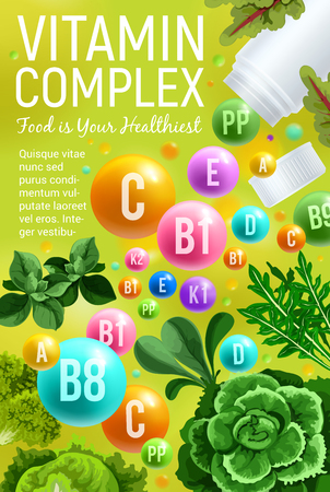 Vitamin complex with green vegetable and herbs. Pill, vitamin and mineral with cabbage, lettuce salad leaf and basil, arugula, spinach and chard. Natural food supplement poster design