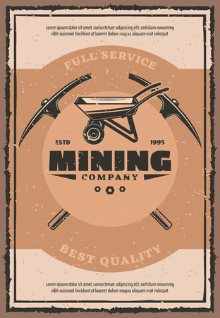 Mining industry retro banner with work tool of miner. Wheelbarrow and crossed picks vintage poster. Coal, metal and chalk, rock salt, diamond and gold extraction themes