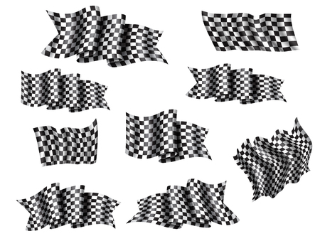 Racing flag isolated 3d icons and symbols for auto race sport. Waving flag with black and white checkered pattern. Rally speed competition, motocross or car racing themes design Standard-Bild - 110027814