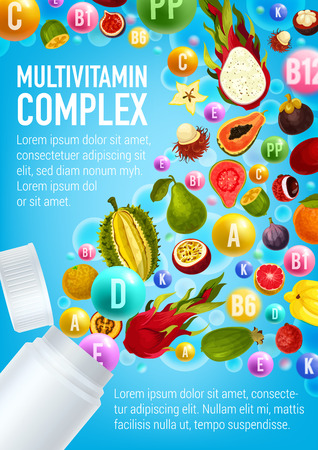 Vitamin and mineral pill with exotic tropical fruit and berry poured out of plastic bottle with blank label. Multivitamin complex poster. Healthy nutrition and diet supplement advertising template