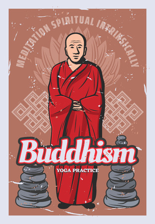 Buddhist monk with rock stack, lotus flower and endless knot retro banner. Yoga and spiritual practices design. Buddhism religion of ancient vintage poster with Buddha teachings symbols Ilustrace
