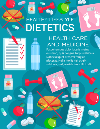 Dietetics medicine, diet nutrition and healthy lifestyle elements. Weight loss consultation of nutritionist doctor, scales, apple fruit, vitamin and pills, water