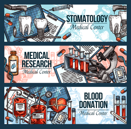 Dentistry, blood donation and laboratory research medical banners. Dental and blood transfusion tool, tooth, heart and lab test tube, microscope, ecg and DNA sketch, medicine design